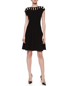 Milly Open Bar Inset Flare Dress, Black