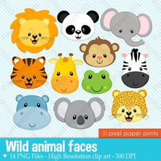 Animal Faces Clipart Clip Art, Zoo Jungle Farm Barnyard Forest Woodland Animal Clipart Clip Art – Commercial and Personal Use – Melissa Campos - Baby Animals Jungle Party, Safari Party, Jungle Theme, 2 Baby, Baby Art, Crafts For Kids, Arts And Crafts, Toddler Crafts, Clip Art