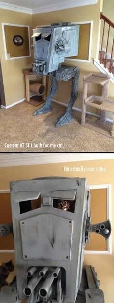 Lol perfect cat tower for so many of my friends. Custom AT ST cat tower