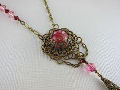 Vintage Red Speckled Cabochon Necklace by AVintageStateofMind, $22.00