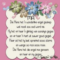 Mis jou so baie. Mothers Day Quotes, Dad Quotes, Qoutes, Beautiful Prayers, Beautiful Gifts, Birthday Greetings, Birthday Wishes, Happy Birthday, Afrikaanse Quotes