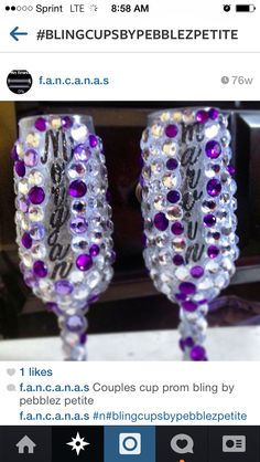 Prom bling cups! $45 for small  glasses in a pair