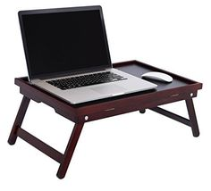 BirdRock Home Bamboo Lap Tray with Black Top | Foldable Breakfast Serving Bed Tray | Lap Desk with Wide Tilting Top | Laptop Stand | Walnut
