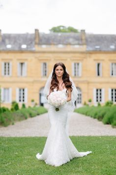 Photography : French Grey Photography | Wedding Dress : Inbal Dror | Grooms Attire : Louboutin Read More on SMP: http://www.stylemepretty.com/little-black-book-blog/2016/08/29/glamorous-spring-wedding-at-french-chateau/