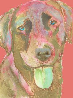 Labrador dog art print, Lab print,abstract dog art ,Red Green,, labrador painting,Labrador dog……