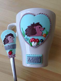 Hedgehog polymer clay mug