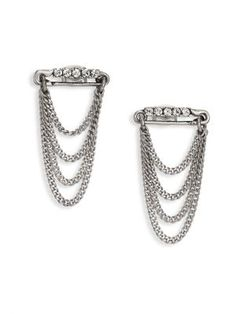 MARC JACOBS Safety Pin Layered Chain Stud Earrings. #marcjacobs #earrings