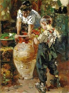 ~ Vincenzo Irolli ~ Italian artist, 1860-1949: The Clay Pot