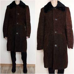 Vintage 1970s Womens Genuine Sheep Lambs Wool Leather Coat
