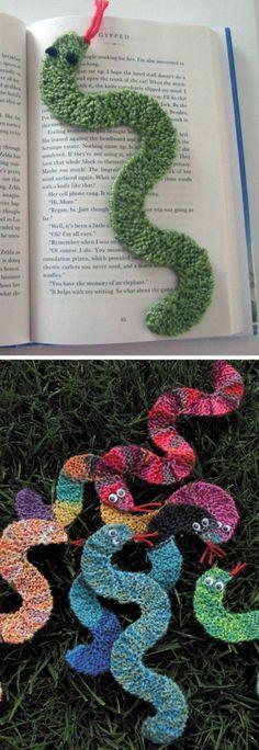 Free Knitting Pattern for Snake Bookmark