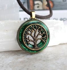 Forest green and brass tree of life necklace | Nature with You - Unique Handmade Jewelry