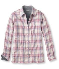 "Fleece-Lined Flannel Shirt: Casual | Free Shipping at L.L.Bean In ""Garnet"" or ""Icy Violet"" color. Misses or Womens It is kinda expensive for a flannel but it is fleece lined and has great reviews for warmth, great for UConn Winter!"