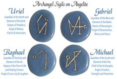 Engraved Angel sigil stones for Archangels Michael, Raphael, Gabriel and Uriel. Including Angel Jewelry, archangel symbols, angel crystals and pocket stones.