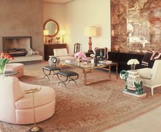 Ruthie Sommers.Hollywood Hills - elephant stools, brass and pink!!!