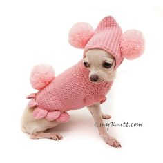 Pink Dog Clothes Bunny with Matching Pom Pom Hat. Exclusive designed and hand crocheted by Myknitt Designer Dog Clothes. Any custom dog clothes for wedding gift are welcome. Please kindly check your pets measurements with my pattern size chart to make sure the item fits before ordering. XXS