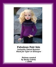 """FABULOUS FAIRISLE-TW""-Knitting Pattern for Ellowyne/Tyler in Dolls & Bears, Dolls, Clothes & Accessories, Modern, Other Modern Doll Clothing 