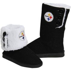 Pittsburgh Steelers Ladies Knit High End Button Boot Slippers - Black