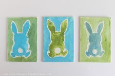 Watercolor and Glue Bunny Craft for Kids (Use watered down acrylic paint)