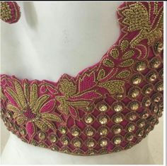 Cutwork blouse with kundan Wedding Saree Blouse Designs, Pattu Saree Blouse Designs, Simple Blouse Designs, Choli Designs, Cut Work Blouse, Mirror Work Blouse, Hand Work Blouse Design, Designer Blouse Patterns, Beautiful Rangoli Designs