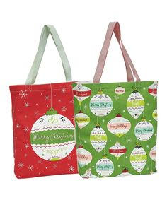 Take a look at this Red & Green Two-Piece Ornaments Tote Set today! Green Two Piece, Unisex Baby Clothes, Christmas Bags, All Toys, Mens Gift Sets, Large Bags, Hostess Gifts, Red Green, Baby Shower Gifts