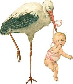 Vintage Stork with Baby Girl Scrap