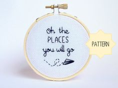 Cross Stitch Pattern  Oh The Places You Will Go  by Quirkorium