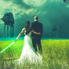 Star Wars Wedding Pictures.... this would be an awesome gift idea!!! Jordan would love it! Have to ask Melissa if its possible?!