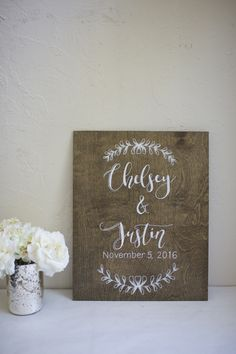 Whimsical welcome sign, hand painted on medium stained plywood. Custom calligraphy wedding signage. Home decor after the wedding or event.