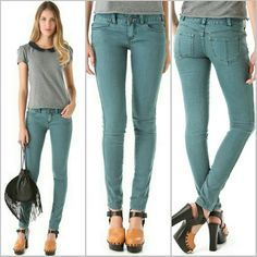 """Free People Millennium Colored Skinny Jeans Richly colored skinny jeans with faint wear at the seams and a curved yoke structuring the back. 4 pocket styling with topstitched detailing at the back pockets. Single-button closure and zip fly. Stretch denim.  Condition: Excellent, lightly worn. 91% polyester, 9% rayon. Inseam: 31""""  Made in China. NO TRADES!! Free People Jeans Skinny"""