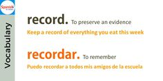 Don't be tricked by English-#Spanish false cognates: record / recordar