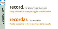 False friends: record / recordar