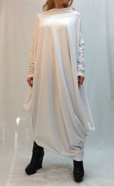 Asymmetrical Maxi Tunic Dress Loose Long Sleeve by MDSewingAtelier, $77.50