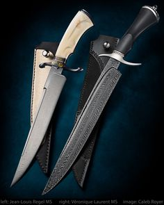 "Left knife: ""Trinity"" by Jean-Louis Regel MS Best Bowie Award at Blade Show 2017 Type: Take down bowie Blade steel: Stainless wootz Handle: Warthog ivory carving Pommel: Iron steel: gold 24k inlay Guard: Black coating Right knife: Véronique Laurent MS W twisted multibar damascus. 12"" blade. 5 1/2"" ebony handle. Carbon steel guard & pommel. Leather sheath w/ black stingray. • #calebroyerphotography #knife #knifemaking #knives #customknives #handmadeknives #knifecommunity #handmade #knifeart…"