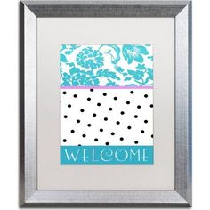 Trademark Fine Art Teal Dots Canvas Art by Color Bakery, White Matte, Silver Frame, Size: 16 x 20, Blue