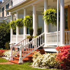This has it all: I love columns for the outside! Plus, for a southern home, a porch is a MUST.