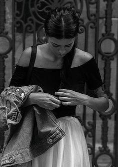Outfit, look, denim, fashion style , blogger , mode, dance, classique, noir et blanc, vintage