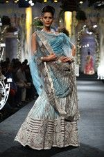 Sky blue & silver striped lengha by Shantanu & Nikhil