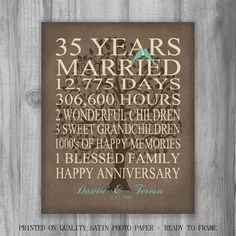 35 Year Anniversary Gift Burlap Rustic By Printsbychristine 35th Wedding Gifts For