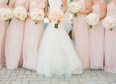 Blush Pink Bridesmaid Dresses and Bouquet Peonies. Love the colors of the dresses and flowers and they are flowy anddddd they are all different cuts for different bodies