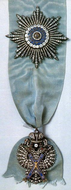 Insignias of the Order of St. Andrew: the badge and the star with diamonds on a blue ribbon. The Order was established by Peter the Great in 1698, it was the highest order of chivalry of the Russian Empire. #history