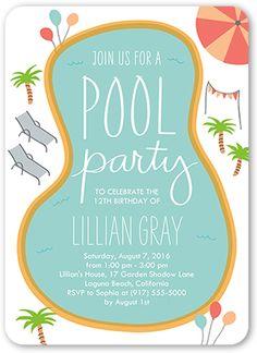 Invitation chosen by client. Birthday Pool Party Birthday Invitation by Shutterfly