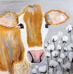 Excited to share the latest addition to my #etsy shop: Elsie the Cow, Original Painting on Canvas #painting #gray #brown #cute #farm #grey #gift