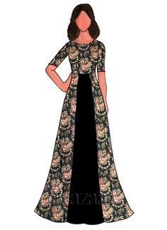 Fashion Design Drawing Black Cotton Floral Printed Gown - Buy Black Cotton Floral Printed Gown online, SKU Code: This Black color After Six dresses and gown for Women comes with Printed Taffeta . Shop Now! Floral Print Gowns, Printed Gowns, Floral Prints, Fashion Design Drawings, Fashion Sketches, Fashion Illustrations, Dress Illustration, Indian Illustration, Illustration Sketches