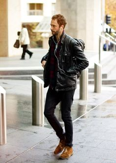 http://chicerman.com  meninthistown:  Leather and plaid.  #streetstyleformen