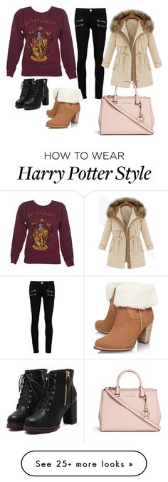 """I would wear this on a cold day lol xx"" by leahfrancesbest on Polyvore featuring Paige Denim, UGG Australia and Michael Kors"