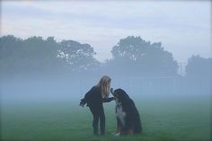 Early morning with the two youngsters in our family. Isabel and our Berner Sennen