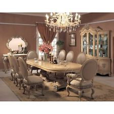 Traditional Table With China Cabinet Accent Mirror And Beautiful Chandelier