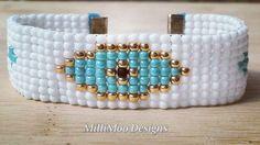 Boho Evil Eye Bead loom bracelet by MilliMooDesigns on Etsy