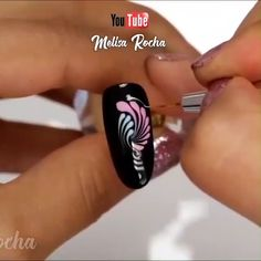 Acrylic Nail Art 433612270376628836 - So easy and beautiful!rocha_ Source by bonnetclaude Rose Nail Art, Rose Nails, Gel Nail Art, Flower Nails, Nail Polish, Feather Nail Art, 3d Acrylic Nails, Nail Art Designs Videos, Nail Design Video