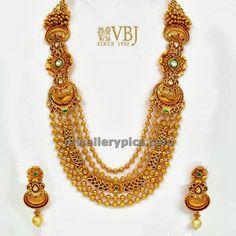 VBJ gold beaded long chain - Latest Jewellery Designs